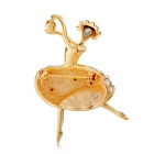 Xinguang Women's Beautiful Girl Dancing Design Crystal Brooch - Golden