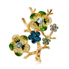 Xinguang Women's Flowering Tree Oil Painting Style Brooch - Gold