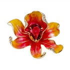 Xinguang Women's Showy Flower Design Red Crystal Brooch - Golden