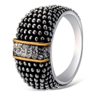 Xinguang Women's Retro Crystal Finger Ring - Antique Silver (US 9)