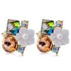 Xinguang Women's Korean Style Fashionable Crystal Ear Studs Earrings - Golden (Pair)