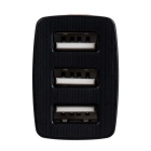 3-Port USB 5V 3A Car Power Adapter Charger - Black + Brown (12~24V)