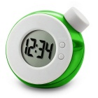 Eco-Friendly Water Powered Clock No-Alarm Clock w/ Digital LCD - Green