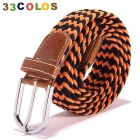 Simple Unisex Elastic Weave Belt - Orange + Black (NO.16)