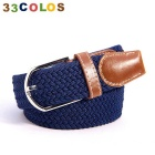 Simple Unisex Elastic Weave Belt - Blue (NO.7)