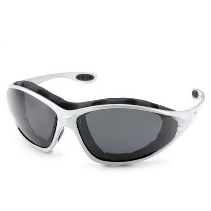 Panlees QM139 Anti-Wind Polarized Motorcycle Sunglasses Goggles w/ Replaceable Temple - Silver