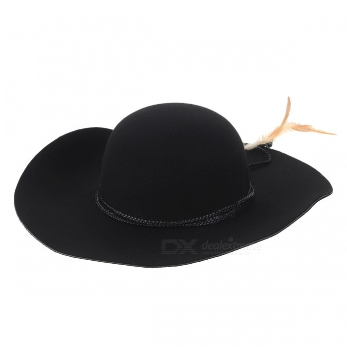 Retro Casual Wide Brim Wool Hat for Women - Black