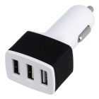 3 USB Slots Car Cigarette Lighter Plug 3A AC Power Adapter - White & Black