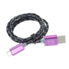 Hat-Prince Data Transfer / Charging Cable for Samsung / LG / HTC / Huawei / Sony - Black+Purple (1m)
