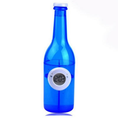 Bottle Style Eco-Friendly Water Powered Clock - Blue