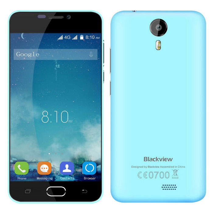 "Blackview BV2000 5.0 Android 5.1 MTK6735 Quad-Core-4G Bar Phone m / 5,0 ""IPS, 8GB ROM, Wi-Fi - Blå"