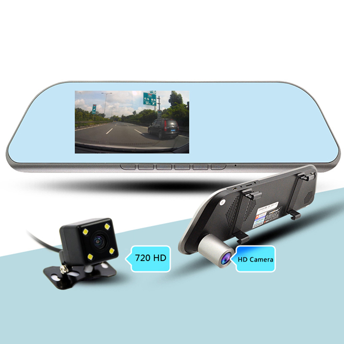 "HD 5"" Android 4.4 Rearview Mirror GPS Navigator Car DVR w/ BR+AR Map"