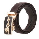 Fanshimite Men's Automatic Buckle Cow Split Leather Belt - Brown (115cm)