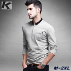 KUEGOU Men's Long Sleeve Embroidery Pattern Polo Shirt With Botton Down Collar - Light Grey (XL)