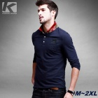 KUEGOU Men's Long Sleeve Embroidery Pattern Polo Shirt With Red Collar - Dark Blue (XL)