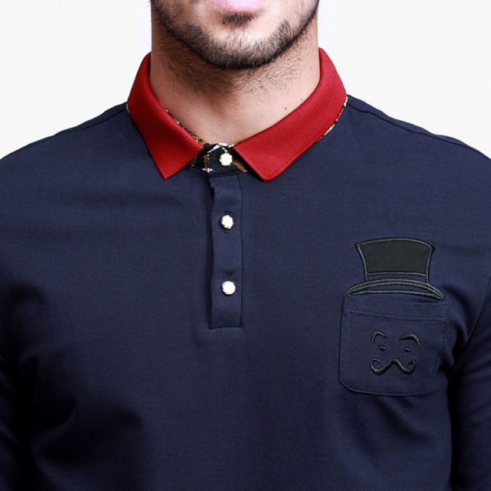 Kuegou men s long sleeve polo shirt with red collar dark
