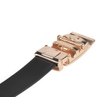 Fanshimite Men's Automatic Buckle Cow Split Leather Belt - Black (115cm)