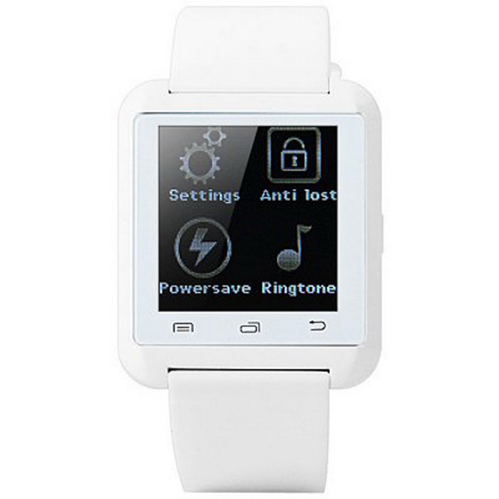 U8 Waterproof MTK6261 Bluetooth V3.0 Touch Screen Smartwatch - WhiteSmart Watches<br>Form ColorWhiteModelU8Quantity1 DX.PCM.Model.AttributeModel.UnitMaterialTPUShade Of ColorWhiteCPU ProcessorMTK6261Bluetooth VersionBluetooth V3.0Touch Screen TypeTFTCompatible OSAndroidWater-proofOthers,Daily Water Resistant (not for Swimming)Battery Capacity230 DX.PCM.Model.AttributeModel.UnitBattery TypeLi-polymer batteryStandby Time160 DX.PCM.Model.AttributeModel.UnitScreen Resolution240 x 240 pixelsLanguageEnglish, French, Spanish, Polish, Portuguese, Italian, German, Malayan, Turkish, Russian, Persian, Dutch, Vietnamese, ArabicWristband Length24 DX.PCM.Model.AttributeModel.UnitBattery ModeReplacementPacking List1 x Smart Watch 1 x 30cm Black USB cable1 x English User Manual<br>