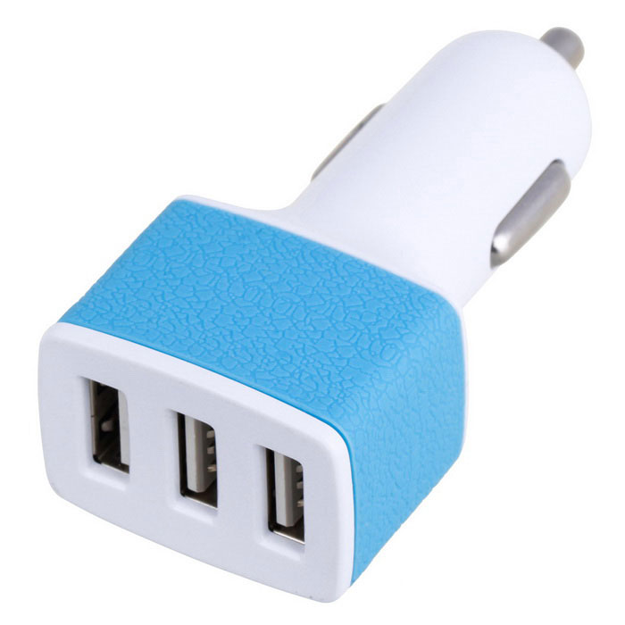 3 USB cigarro Slot Car isqueiro plug adaptador AC 3A - White & Blue (12-24V)