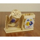 Sandglass Wooden Pen Holder - Wood Color