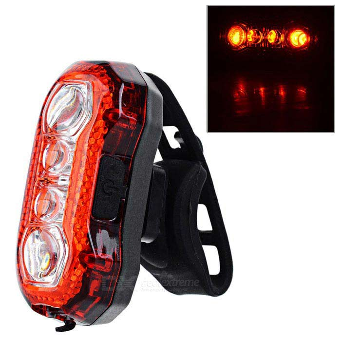 USB Rechargeable 4-LED 5-Mode Red Light Outdoor Cycling Safety Warning Bike Light - Black + Red