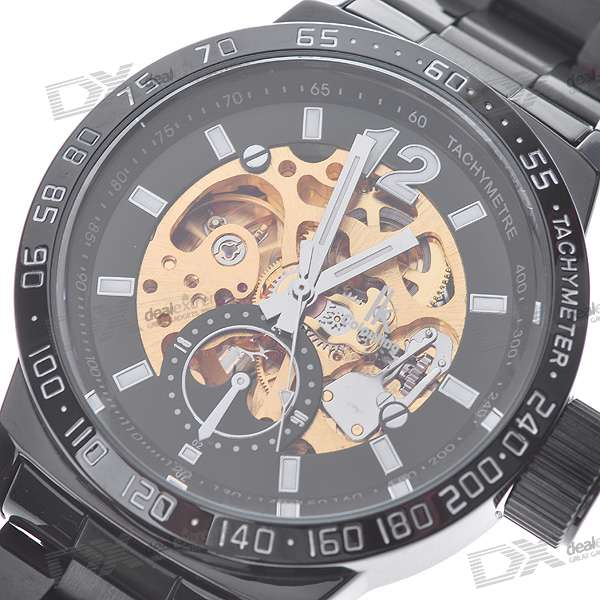 IK Stainless Steel Self-Winding Mechanical Wristwatch (Black + Golden)