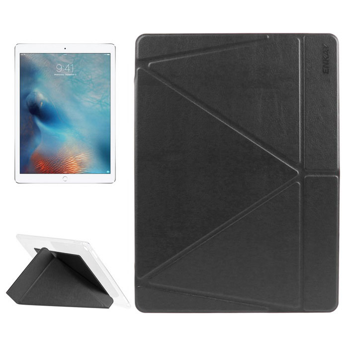 ENKAY Multi-Folding Protective PU Leather Smart Case w/ Stand for IPAD PRO - Black