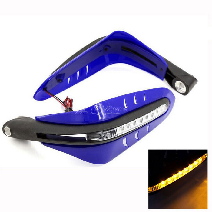 Carking Par amarillo LED de la motocicleta Scooter guardamanos de 12mm Manillar - Azul