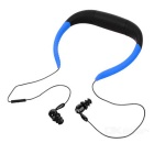 Universal Water-Resistant Bluetooth V4.0 Neck Band Earphones Headphones w/ Mic. - Blue + Black