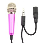 Jtron 3.5mm Stylish Mini Mobile Stereo Microphone for Tablet PC / Cellphone - Black + Deep Pink