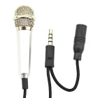 3.5mm Stylish Mini Mobile Stereo Microphone for Tablet PC / Cellphone - Black + Silver