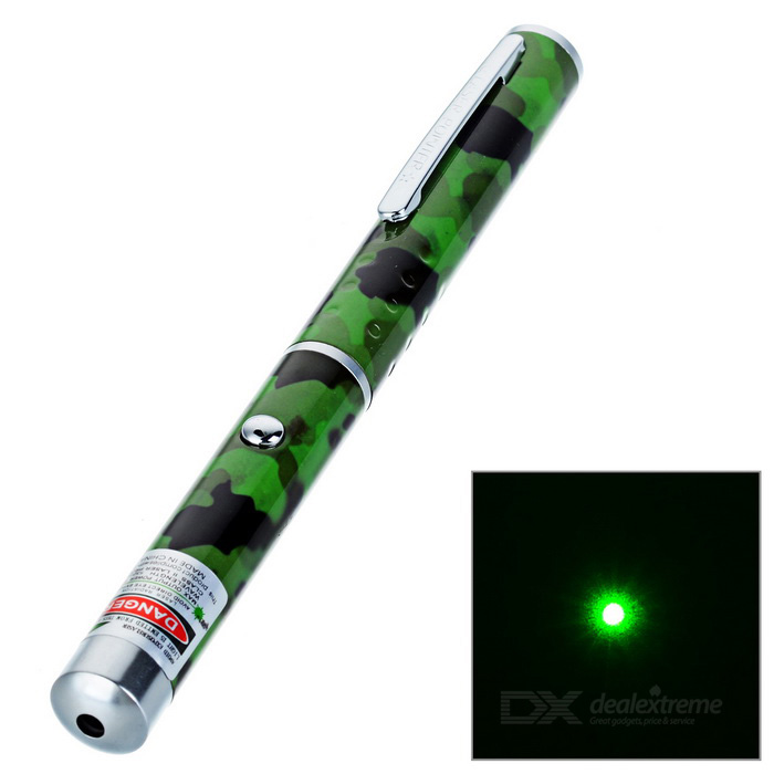 1mW 532nm Green Laser Pointer Pen - Camouflage Green (2 x AAA)