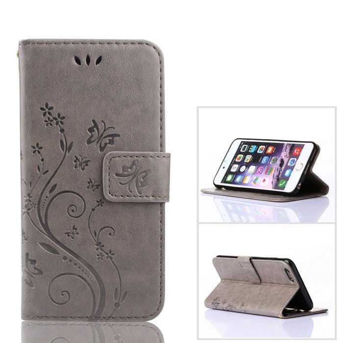 MO.MAT Butterfly in Love with Flower Emboss PU+TPU Wallet Case for IPHONE 6 / 6S - Grey