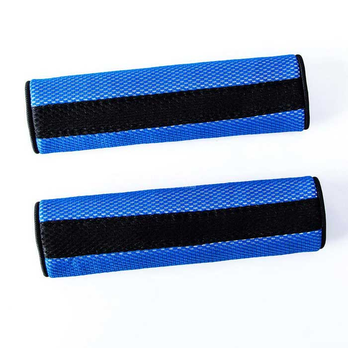Motor Detachable Fastener Seatbelt Cover Pad - Blue (Pair)