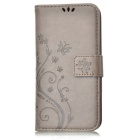 MO.MAT Butterfly in Love with Flower Emboss PU+TPU Wallet Case for Samsung Galaxy S6 - Grey