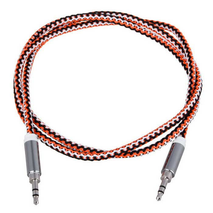 3.5mm macho a macho trenzado Line-in Aux Audio Cable - Negro + Naranja (100cm)