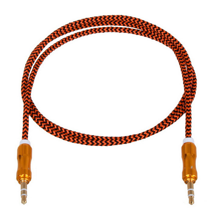 Gourd-Shape Connectors 3.5mm Male to Male Braided Line-In Aux Audio Cable - Black + Orange (100cm)