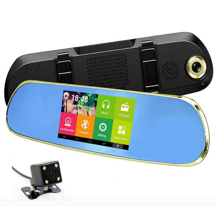 "Q9 5 ""HD Android 4.4 Rearview GPS Navigator voiture DVR w / Dual Cameras AVIN BT Wi-Fi FM Carte UE - Golden"