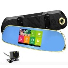 "Q9 5"" HD Android 4.4 Rearview GPS Navigator Car DVR w/ Dual Cameras AVIN BT Wi-Fi FM AU Map - Golden"