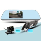 "5"" HD Android 4.4 Quad-core Rearview Mirror GPS Navigator Car DVR w/ Dual Cameras AVIN 16GB RU Map"