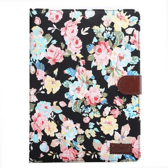 Flower Pattern PU Leather Case w/ Stand / Card Slot for Samsung Galaxy Tab S2 T810 / T815