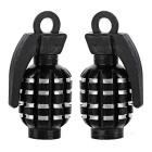 CTSmart Grenade Style Bike / Motorcycle Wheel Tire Tyre Valve Dust Cap Cover - Black (2pcs)