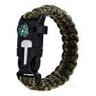 Outdoor Survival Parachute Cord Bracelet w/ Flintstone / Whistle / Compass / Scraper - Army Green