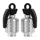 CTSmart Grenade Style Bike / Motorcycle Wheel Tire Tyre Valve Dust Cap Cover - Silver + Black (2pcs)