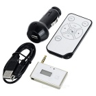 "0.8"" 3.5mm FM Transmitter MP3 Stereo Music Player Adapter w/ Car Charger & Remote Control - Golden"