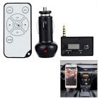 "0.8"" 3.5mm FM Transmitter MP3 Stereo Music Player Adapter w/ Car Charger & Remote Control - Black"