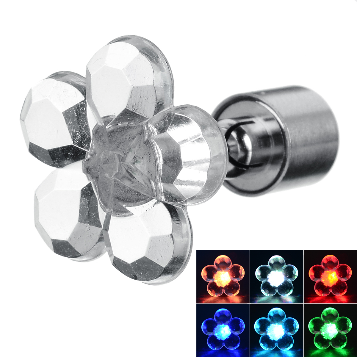 CTSmart Fashion Plum Blossom Style Colorful Light LED Luminous Ear Stud Earring for Party / Bar