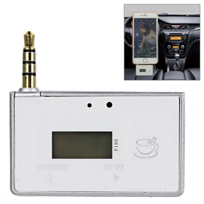 "0.8"" LCD 3.5mm Car Transmisor FM y reproductor de música estéreo MP3 Player Adapter - Plata + Blanco"