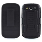 Rugged Hybrid Protective Armor Impact Case Hard Cover Holster w/ Belt Clip for Samsung GALAXY S3