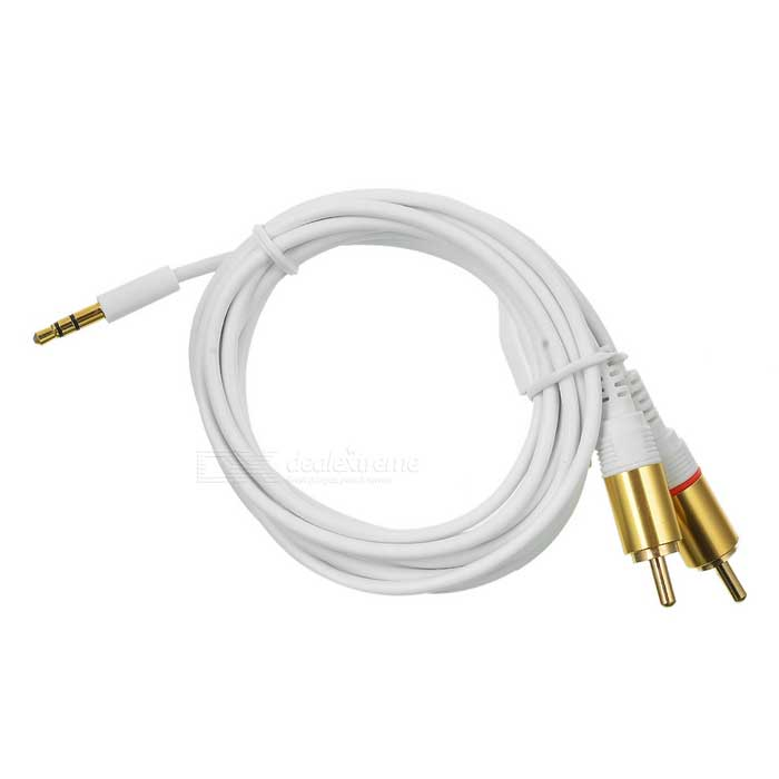 Gold Plated 3.5mm Male to 2 x RCA Male Audio Connection Cable - White + Golden (2m)